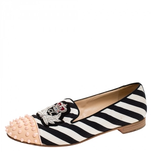 Christian Louboutin Multicolor Striped Canvas Spiked Cap Toe Harvanana Smoking Slippers Size 39.5
