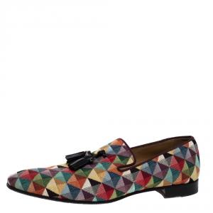 Christian Louboutin Multicolor Fabric Dandelion Tassel Flat Slip-On Size 42.5