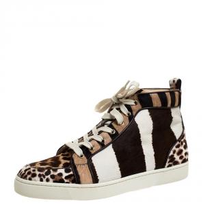 Christian Louboutin Multicolor Animal Print Calf Hair Rantus High Top Sneakers Size 41.5