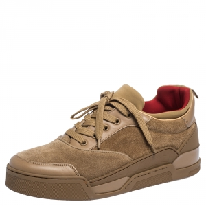 Christian Louboutin Beige Leather, Suede and Fabric Aurelien Sneakers Size 42.5