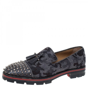 Christian Louboutin Grey Camouflage Wool and Leather Rossini Spike Cap Toe Loafers Size 43