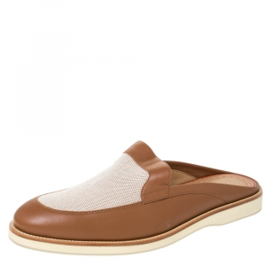 Christian Louboutin Tan Leather and Canvas Lazy N' Happy Slip On Mules Size 43