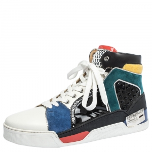 Christian Louboutin Multicolor Leather and Suede Loubikick High Top Sneakers Size 43