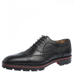 Christian Louboutin Black Brogue Leather Charlie Me Oxfords Size 43