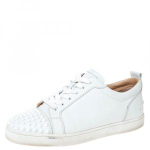 Christian Louboutin White Leather Louis Junior Spikes Sneakers Size 43