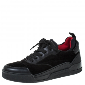 Christian Louboutin Black Leather, Suede and Fabric Aurelien Sneakers Size 43