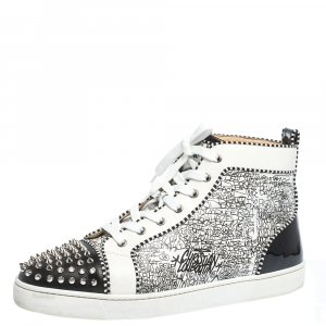 Christian Louboutin White/Black Graffiti Leather Rantus Orlato High Top Sneakers Size 44.5