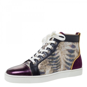 Christian Louboutin Mulitcolor Glitter Fabric and Leather High Top Sneakers Size 40