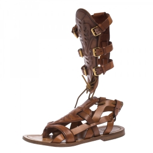 Christian Louboutin Tan Leather Gladiator Flats Sandals Size 40