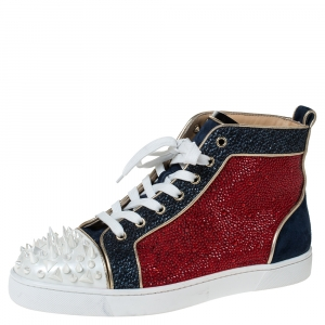 Christian Louboutin Multicolor Suede And Leather Louis Spikes High-Top Sneakers Size 41.5