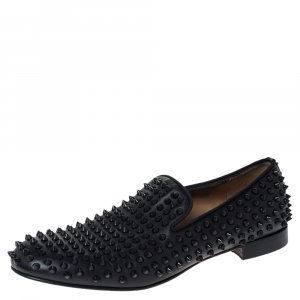 Christian Louboutin Black Leather Roller Boy Spiked Loafers Size 42.5