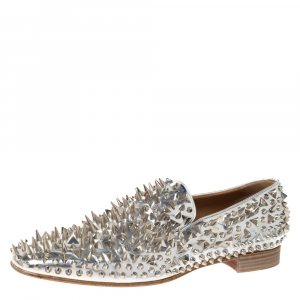 Christian Louboutin Metallic Silver Leather Spike Dandy Pik Pik Loafers Size 45
