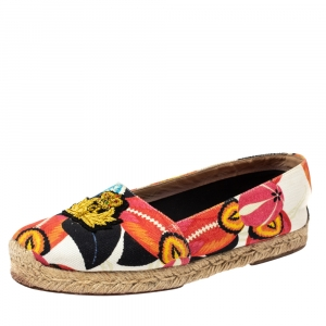Christian Louboutin Multicolor Canvas Gala Embroidered Crest Espadrille Loafers Size 38