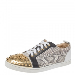 Christian Louboutin Multicolor Spike Python and Leather Louis Low Top Sneakers Size 43