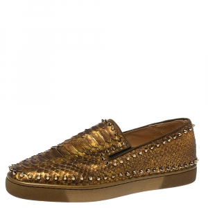 Christian Louboutin Metalic Gold Python Pik Boat Slip On Sneakers Size 43.5