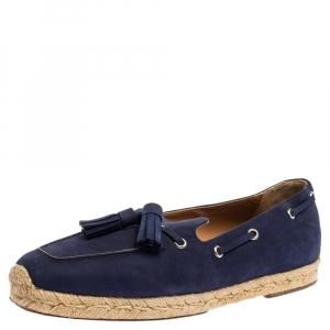 Christian Louboutin Blue Nubuck Leather Tassel Embellished Espadrilles Loafers Size 40