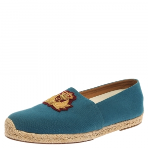 Christian Louboutin Blue Canvas Gala Embroidered Espadrille Slip On Loafers Size 43