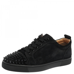 Christian Louboutin Black Suede Leather Spike Cap Toe Louis Junior Sneakers Size 40