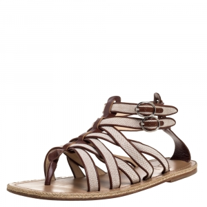 Christian Louboutin Beige/Brown Canvas And Leather Trim Nuria Strappy Espadrille Sandals Size 45