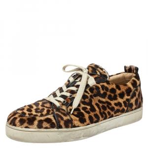 حذاء رياضي كريستيان لوبوتان رانتولو اورلاتو منخفض من أعلى شعر عجل مطبوع نقشة الفهد بني مقاس 46