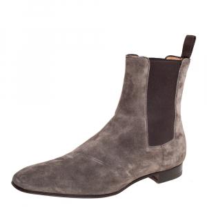 Christian Louboutin Grey Suede Samson Chelsea Boot Size 41