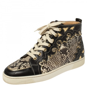 Christian Louboutin Black/Beige Leather And Python Rantus Orlato High Top Sneakers Size 41