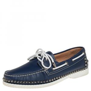 حذاء لوفرز سليب أون كريستيان لوبوتان ستكل سبايك بوت جلد أزرق مقاس 41