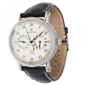 Chronoswiss White Stainless Steel Tora Regulator CH1323 Men's Wristwatch 38 MM