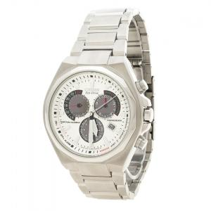 Citizen Silver White Stainless Steel Eco Drive Stainless Steel Men's Wristwatch 43 mm