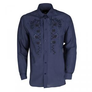 Class By Roberto Cavalli Navy Blue Cotton Silk Embroidered Long Sleeve Shirt L