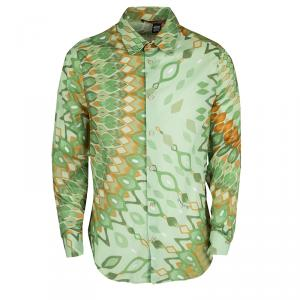 Class By Roberto Cavalli Green Printed Cotton Long Sleeve Button Front Shirt L