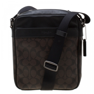 Coach Brown/Black Signature Coated Canvas and Leather Flight Messenger Bag