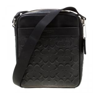 Coach Black Signature Embossed Leather Flight Messenger Bag