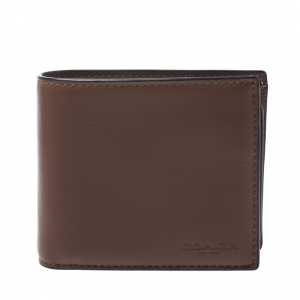 Coach Brown Leather ID Compact Bifold Wallet