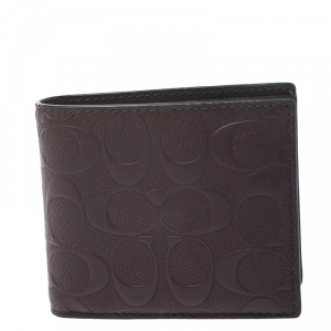 Coach Dark Brown Signature Leather Compact Bifold Wallet