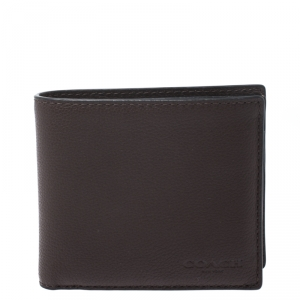 Coach Dark Brown Leather Compact Bifold Wallet