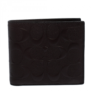 Coach Mahogany Signature Leather Compact Bifold Wallet
