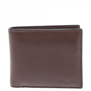 Coach Dark Brown Leather ID Compact Wallet