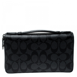 Coach Charcoal PVC Double Zip Travel Organizer