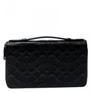 Coach Black Leather Double Zip Travel Organizer