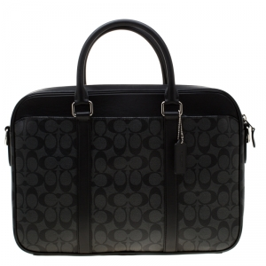 Coach Charcoal Signature Canvas and Leather Perry Slim Laptop Bag