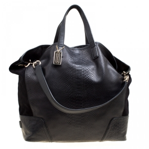 Coach Black Python Embossed Leather and Suede Oversized Tote
