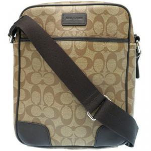 Coach Khaki/Brown Signature PVC and Leather Messenger Bag
