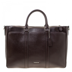 Coach Burgundy Leather Perry Metropolitan Briefcase Tote