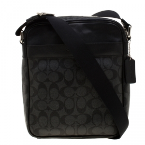 Coach Charcoal Signature Coated Canvas and Leather Flight Messenger Bag