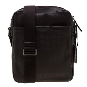 Coach Brown Signature Embossed PVC Heritage Crossbody Bag