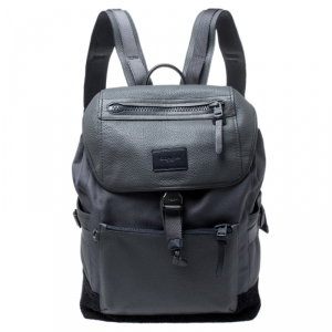 Coach Grey Leather, Nylon and Suede Manhattan Backpack