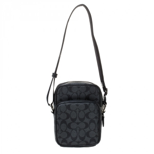Coach Charcoal Signature Coated Canvas and Leather Messenger Bag