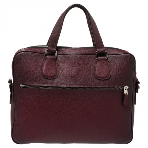 Coach Burgundy Ombre Leather Briefcase