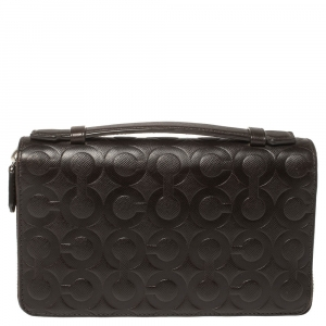 Coach Dark Brown Signature Embossed Leather Double Zip Clutch